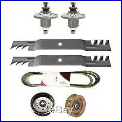 42 Deck Rebuild Kit Spindles Blades Belt Idler for John Deere D130 100 Series