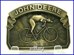 John Deere Bicycling Deer on Bicycle Belt Buckle Ltd Ed Serial # 934 Issued 1988