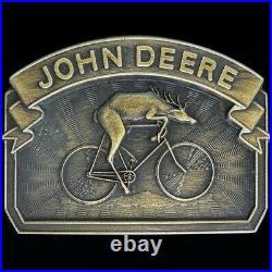 John Deere Deer Riding A Bike Bicycle Rare Western 80s NOS Vintage Belt Buckle