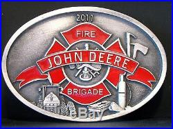 John Deere FIRE BRIGADE Belt Buckle 2011 Limited Ed 50/170 Spec Cast Tractor NEW