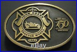 John Deere FIRE BRIGADE Belt Buckle Waterloo Tractor Works 1987 Employee 1 of 54