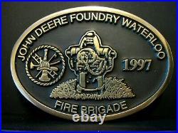 John Deere Foundry Waterloo FIRE BRIGADE Logo Hydrant Employee Belt Buckle 1997