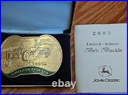 John Deere Model B Tractor & 12A Combine 2002 Belt Buckle Timeless Legends Rare