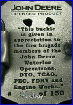 John Deere Waterloo 2000 FIRE BRIGADE EMPLOYEE Belt Buckle Award Badge Shield jd