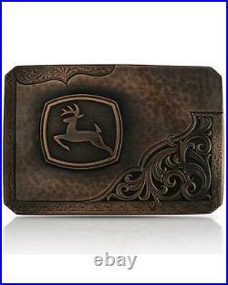 Montana Silversmiths Men's John Deere Leaping Buck Belt Buckle Silver