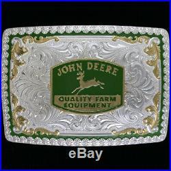 New John Deere Western Cowgirl Cowboy Gift Ag Farmer Montana Silver Belt Buckle