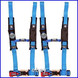 Pro Armor 4 Point Harness 2 Blue Seat Belt Pair RZR Maverick 900 1000 Turbo