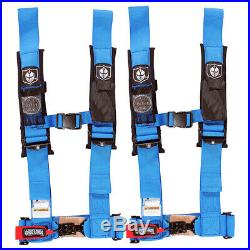 Pro Armor 4 Point Harness 3 Pads Seat Belt PAIR Blue Polaris RZR XP Turbo 1000