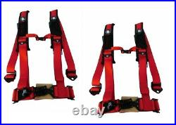 Pro Armor Seat Belt Harness 4PT 2 Padded Arctic Cat Wildcat Prowler RED PAIR