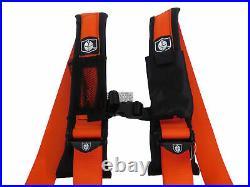 Pro Armor Seat Belt Harness 4PT 2 Padded Polaris RZR XP S /4 /1000 ORANGE PAIR
