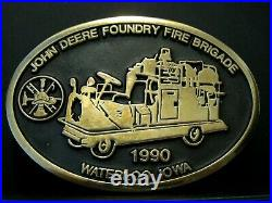 RARE John Deere Waterloo Foundry FIRE BRIGADE Employee Truck Belt Buckle 1990 jd