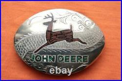 Vintage Hand Made Malachinte Wood Inlay John Deere Belt Buckle